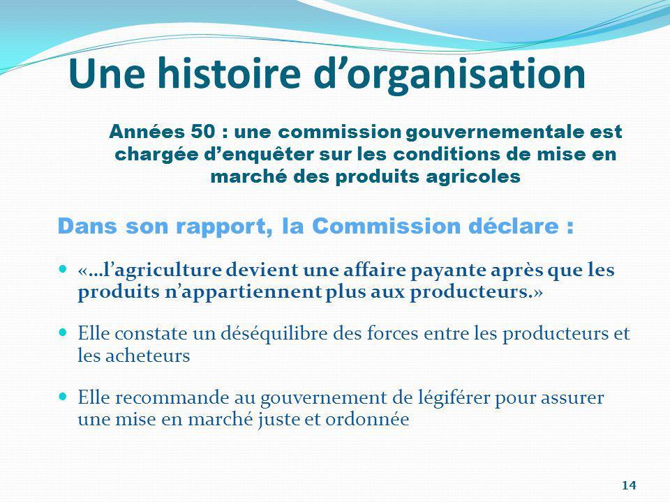 Une histoire dorganisation Dans son rapport, la Commission déclare : «…lagriculture devient une affaire payante après que les produits nappartiennent