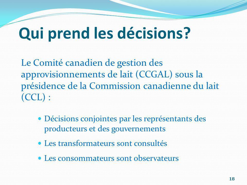 Qui prend les décisions? Le Comité canadien de gestion des approvisionnements de lait (CCGAL) sous la présidence de la Commission canadienne du lait (