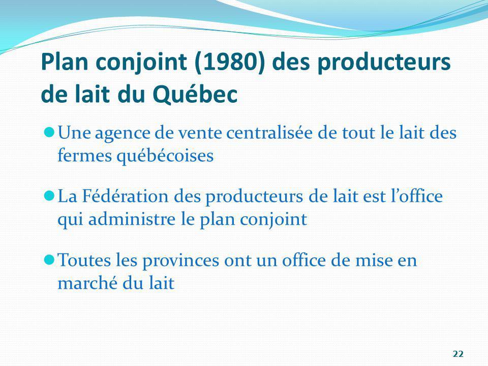 Plan conjoint (1980) des producteurs de lait du Québec Une agence de vente centralisée de tout le lait des fermes québécoises La Fédération des produc