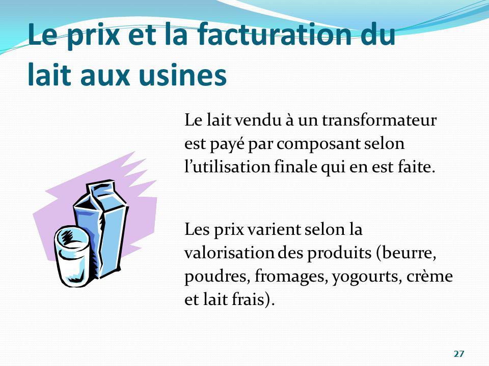 Le prix et la facturation du lait aux usines Le lait vendu à un transformateur est payé par composant selon lutilisation finale qui en est faite. Les