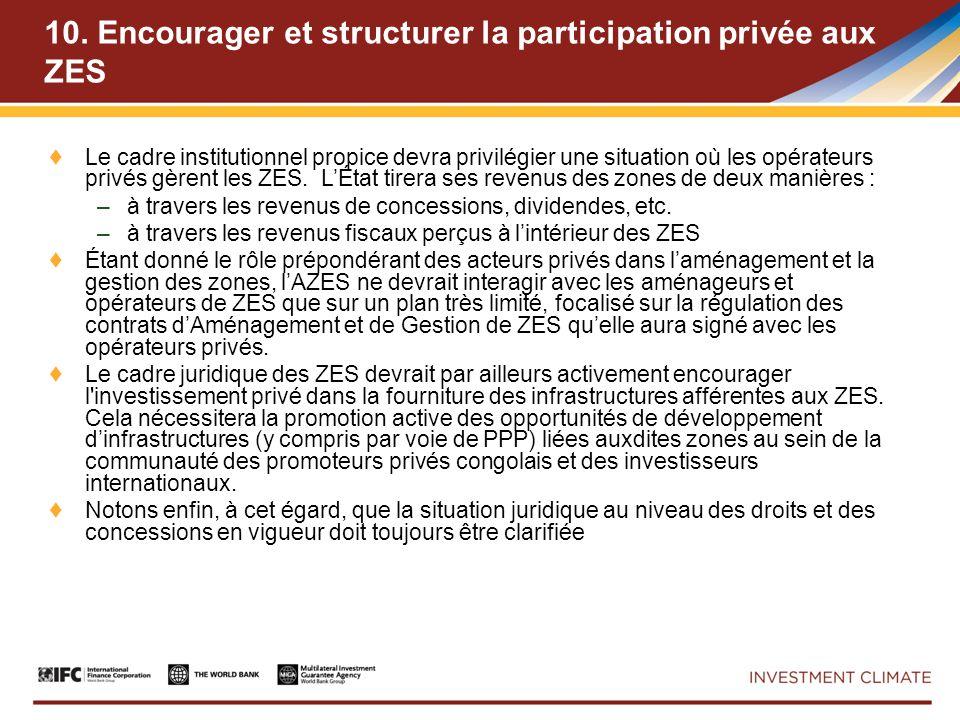 10. Encourager et structurer la participation privée aux ZES Le cadre institutionnel propice devra privilégier une situation où les opérateurs privés