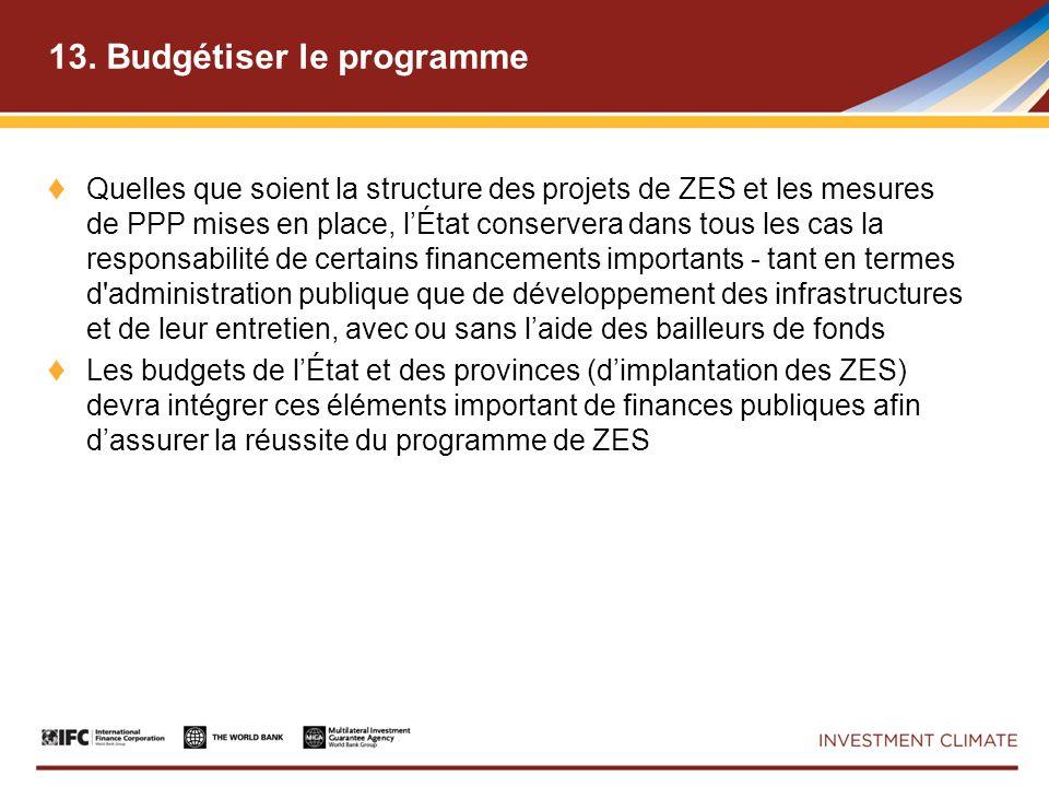 13. Budgétiser le programme Quelles que soient la structure des projets de ZES et les mesures de PPP mises en place, lÉtat conservera dans tous les ca