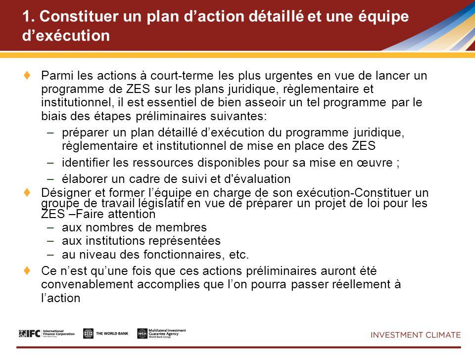1. Constituer un plan daction détaillé et une équipe dexécution Parmi les actions à court-terme les plus urgentes en vue de lancer un programme de ZES