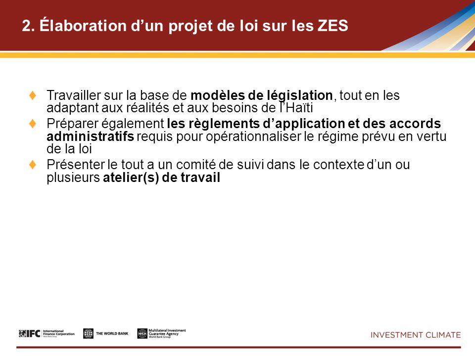 2. Élaboration dun projet de loi sur les ZES Travailler sur la base de modèles de législation, tout en les adaptant aux réalités et aux besoins de lHa