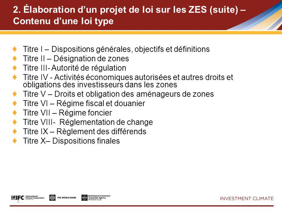 5 2. Élaboration dun projet de loi sur les ZES (suite) – Contenu dune loi type Titre I – Dispositions générales, objectifs et définitions Titre II – D