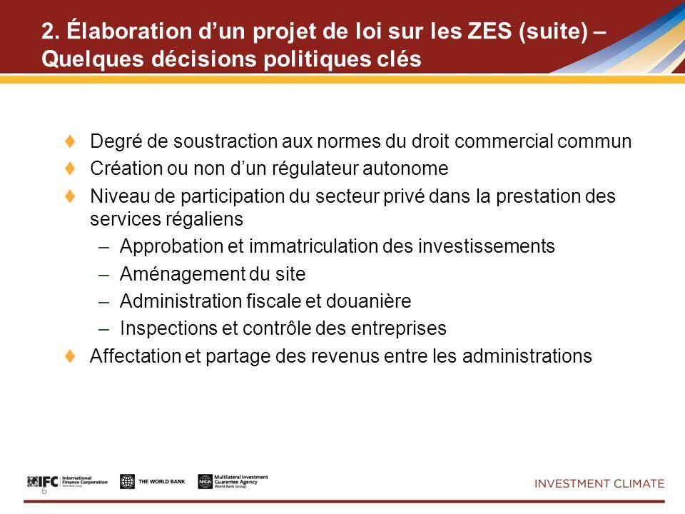 2. Élaboration dun projet de loi sur les ZES (suite) – Quelques décisions politiques clés Degré de soustraction aux normes du droit commercial commun