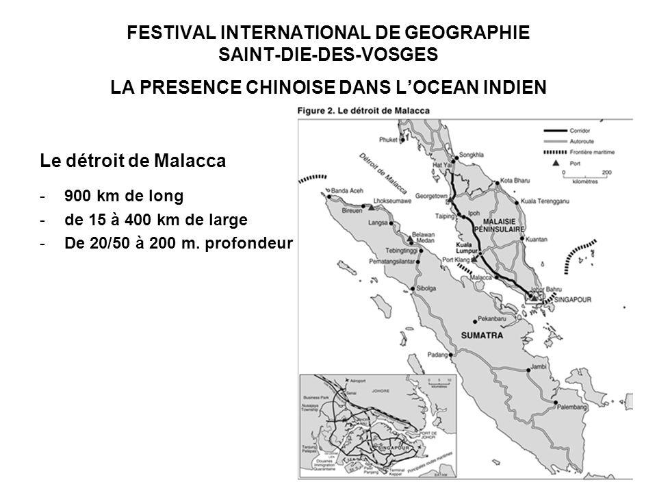 FESTIVAL INTERNATIONAL DE GEOGRAPHIE SAINT-DIE-DES-VOSGES LA PRESENCE CHINOISE DANS LOCEAN INDIEN Le détroit de Malacca -900 km de long -de 15 à 400 km de large -De 20/50 à 200 m.