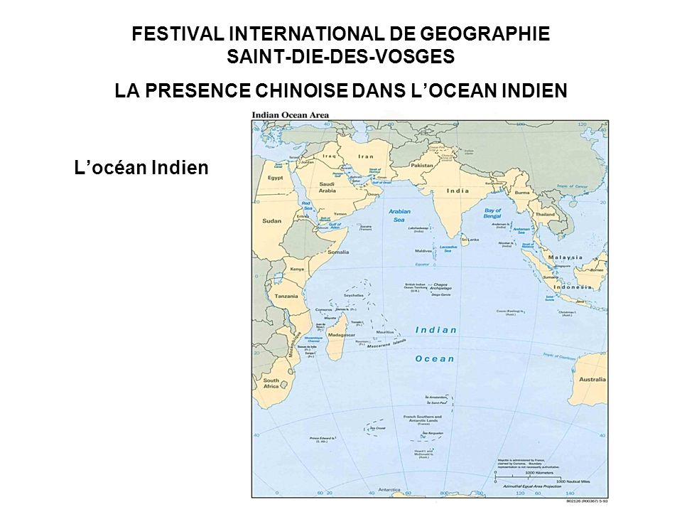 FESTIVAL INTERNATIONAL DE GEOGRAPHIE SAINT-DIE-DES-VOSGES LA PRESENCE CHINOISE DANS LOCEAN INDIEN Les contours de la présence chinoise dans locéan Indien -Pakistan, Birmanie : points dappui pour le désenclavement des provinces occidentales chinoises -Sri Lanka, Bangladesh : futures plateformes logistiques chinoises -Maldives, Seychelles : « volet militaire » du réseau