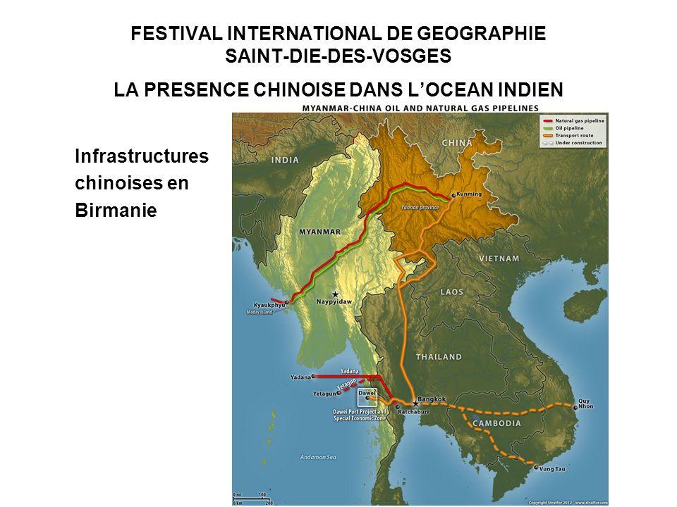 FESTIVAL INTERNATIONAL DE GEOGRAPHIE SAINT-DIE-DES-VOSGES LA PRESENCE CHINOISE DANS LOCEAN INDIEN Infrastructures chinoises en Birmanie