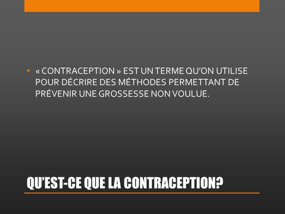 QUEST-CE QUE LA CONTRACEPTION.