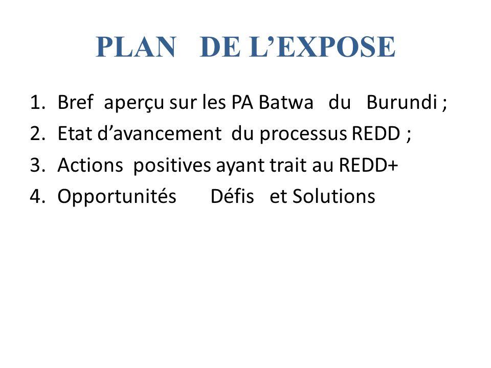 PLAN DE LEXPOSE 1.Bref aperçu sur les PA Batwa du Burundi ; 2.Etat davancement du processus REDD ; 3.Actions positives ayant trait au REDD+ 4.Opportunités Défis et Solutions