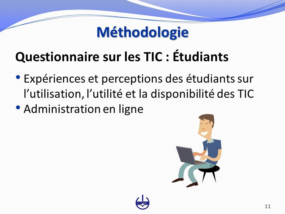 Questionnaire sur les TIC : Étudiants Expériences et perceptions des étudiants sur lutilisation, lutilité et la disponibilité des TIC Administration en ligne Méthodologie 11