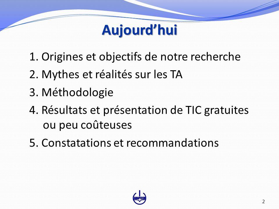 Aujourdhui 1. Origines et objectifs de notre recherche 2. Mythes et réalités sur les TA 3. Méthodologie 4. Résultats et présentation de TIC gratuites