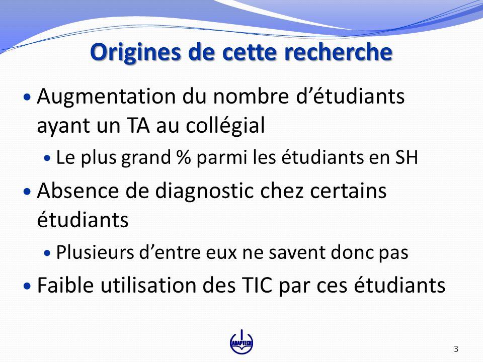 Origines de cette recherche Augmentation du nombre détudiants ayant un TA au collégial Le plus grand % parmi les étudiants en SH Absence de diagnostic