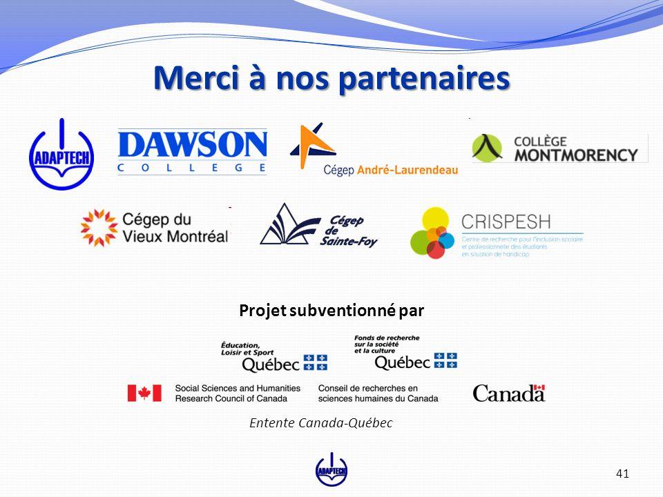 41 Merci à nos partenaires Projet subventionné par 41 Entente Canada-Québec