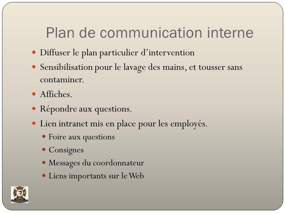 Plan de communication interne Diffuser le plan particulier dintervention Sensibilisation pour le lavage des mains, et tousser sans contaminer. Affiche