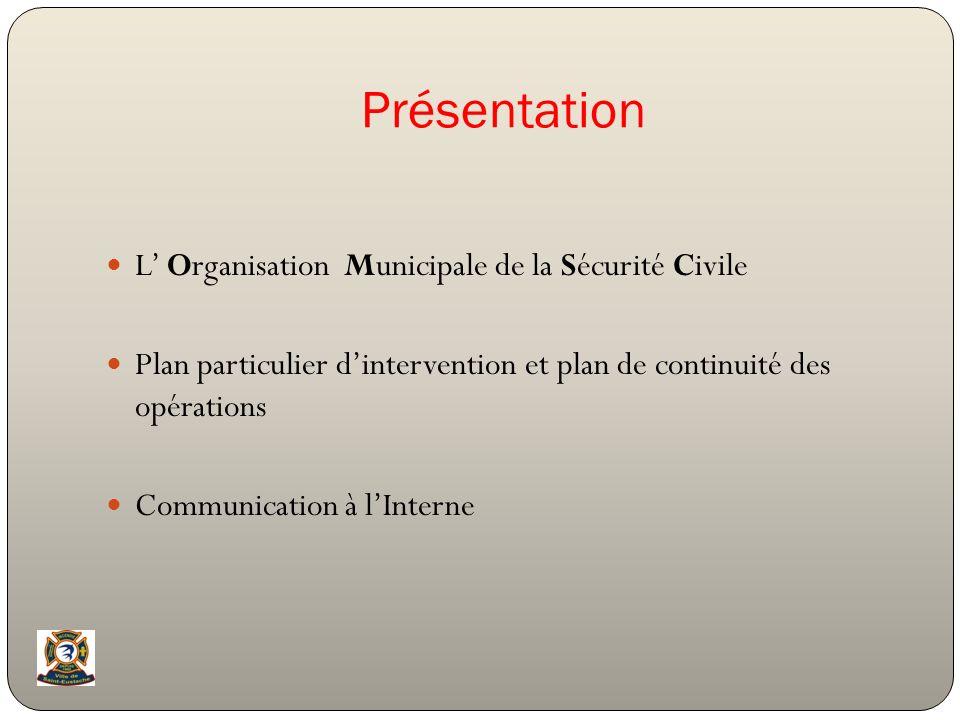 Présentation L Organisation Municipale de la Sécurité Civile Plan particulier dintervention et plan de continuité des opérations Communication à lInte