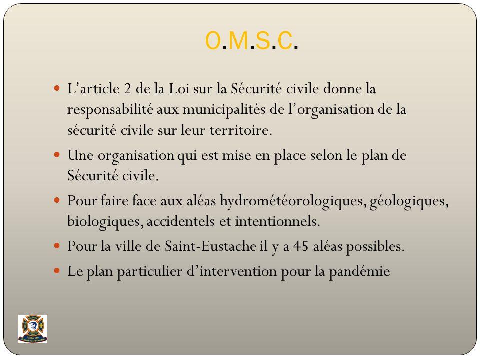 O.M.S.C.O.M.S.C. Larticle 2 de la Loi sur la Sécurité civile donne la responsabilité aux municipalités de lorganisation de la sécurité civile sur leur
