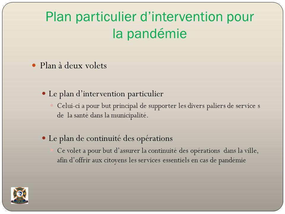 Plan particulier dintervention pour la pandémie Plan à deux volets Le plan dintervention particulier Celui-ci a pour but principal de supporter les di