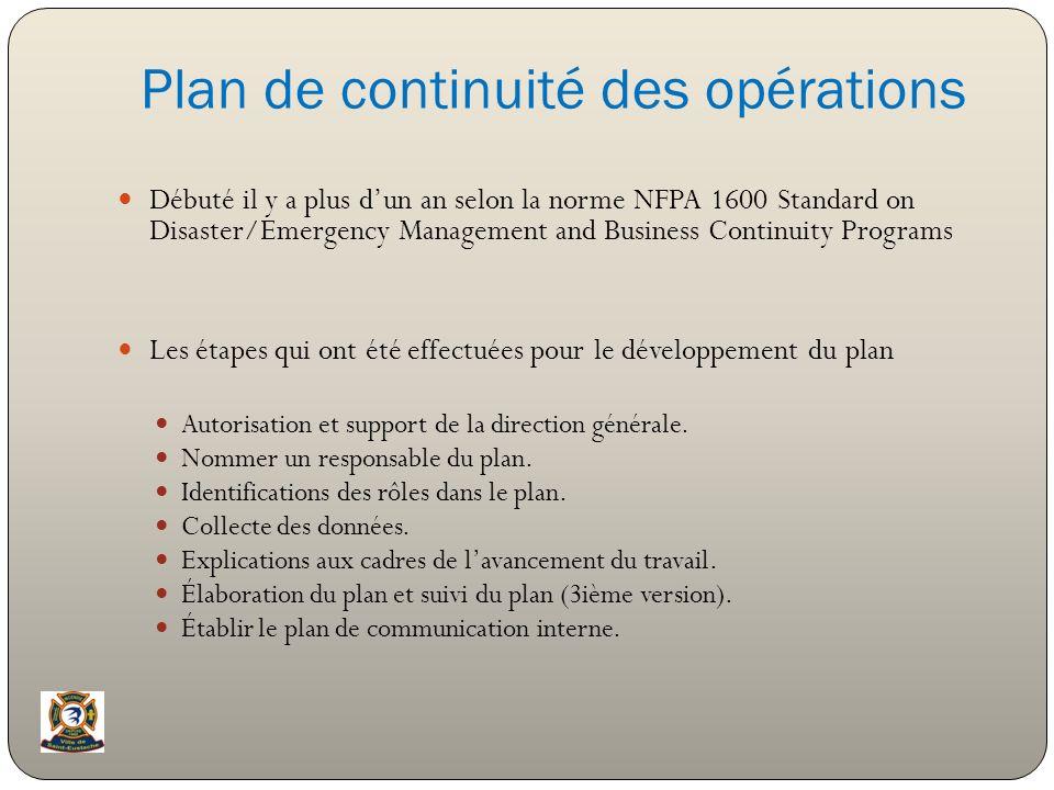 Plan de continuité des opérations Débuté il y a plus dun an selon la norme NFPA 1600 Standard on Disaster/Emergency Management and Business Continuity
