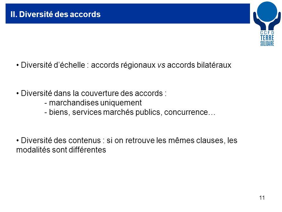 11 II. Diversité des accords Diversité déchelle : accords régionaux vs accords bilatéraux Diversité dans la couverture des accords : - marchandises un