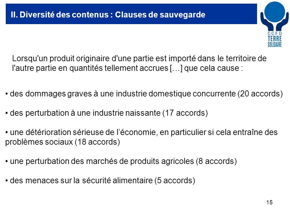 15 II. Diversité des contenus : Clauses de sauvegarde des dommages graves à une industrie domestique concurrente (20 accords) des perturbation à une i