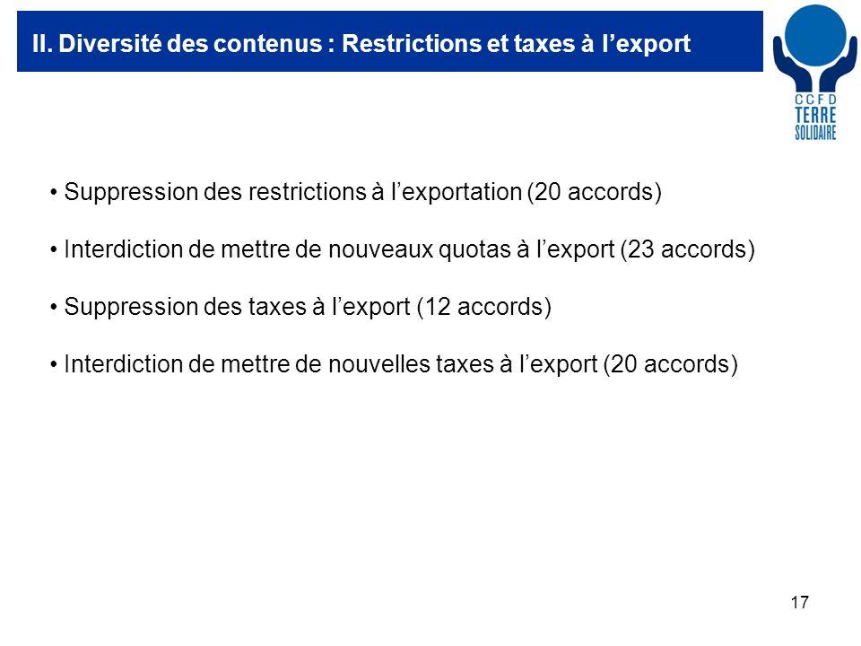 17 II. Diversité des contenus : Restrictions et taxes à lexport Suppression des restrictions à lexportation (20 accords) Interdiction de mettre de nou