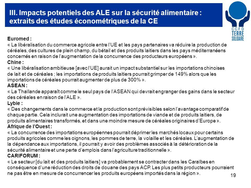 19 III. Impacts potentiels des ALE sur la sécurité alimentaire : extraits des études économétriques de la CE Euromed : « La libéralisation du commerce