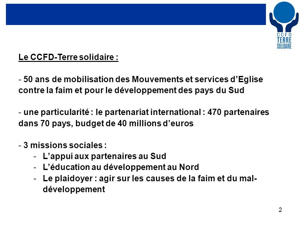 2 Le CCFD-Terre solidaire : - 50 ans de mobilisation des Mouvements et services dEglise contre la faim et pour le développement des pays du Sud - une