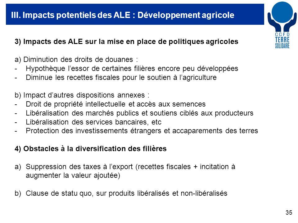 35 III. Impacts potentiels des ALE : Développement agricole 3) Impacts des ALE sur la mise en place de politiques agricoles a) Diminution des droits d