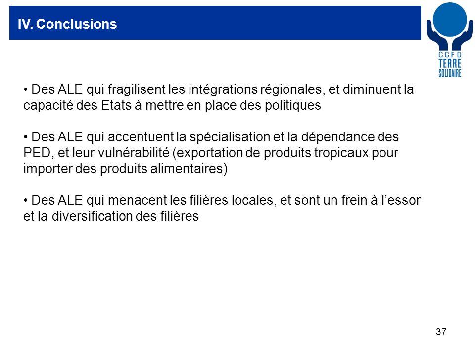 37 IV. Conclusions Des ALE qui fragilisent les intégrations régionales, et diminuent la capacité des Etats à mettre en place des politiques Des ALE qu