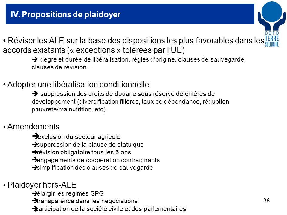 38 IV. Propositions de plaidoyer Réviser les ALE sur la base des dispositions les plus favorables dans les accords existants (« exceptions » tolérées