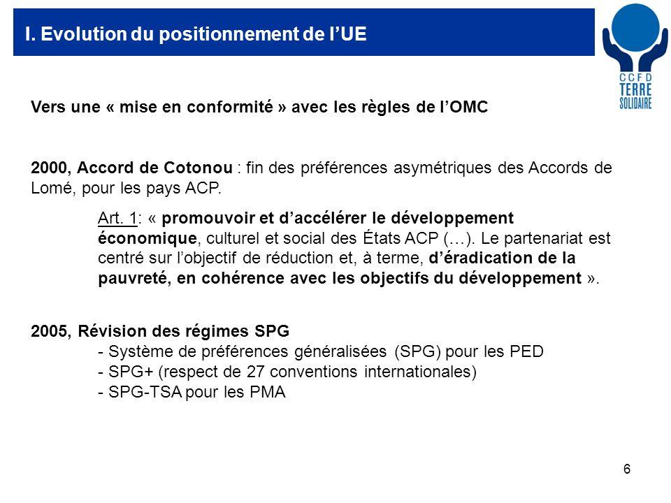 6 I. Evolution du positionnement de lUE Vers une « mise en conformité » avec les règles de lOMC 2000, Accord de Cotonou : fin des préférences asymétri