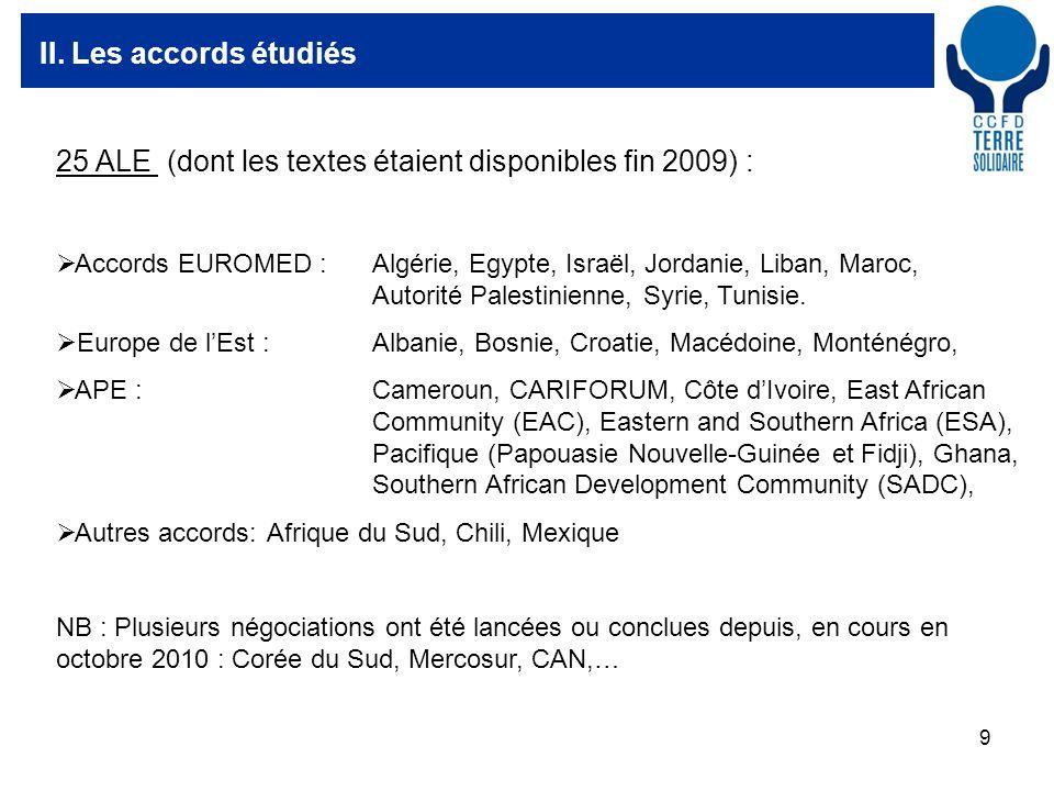 9 II. Les accords étudiés 25 ALE (dont les textes étaient disponibles fin 2009) : Accords EUROMED : Algérie, Egypte, Israël, Jordanie, Liban, Maroc, A