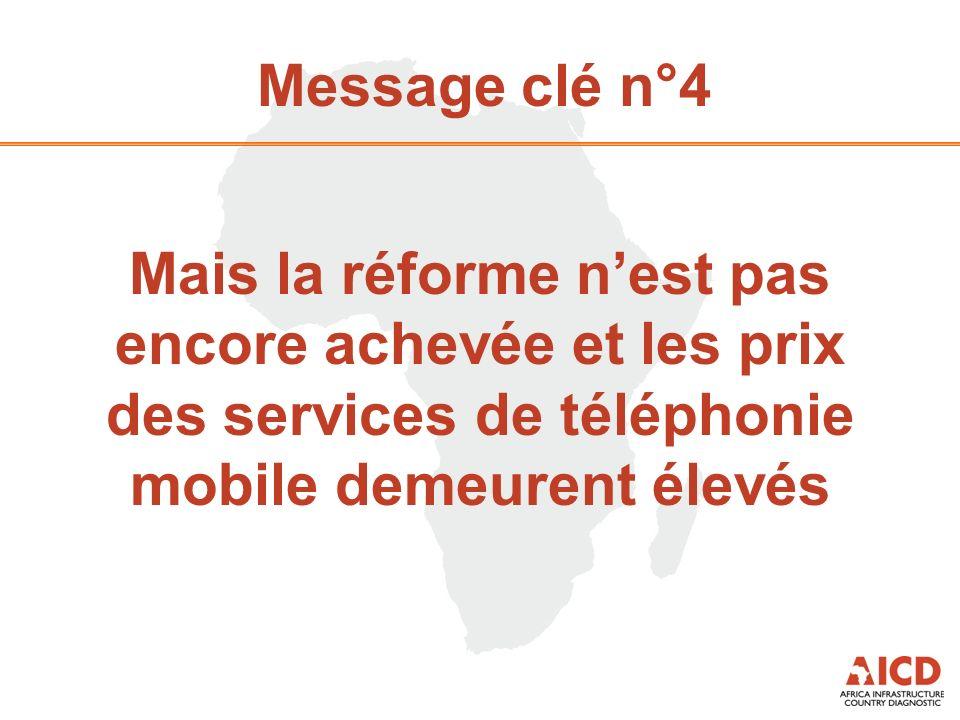 Message clé n°4 Mais la réforme nest pas encore achevée et les prix des services de téléphonie mobile demeurent élevés