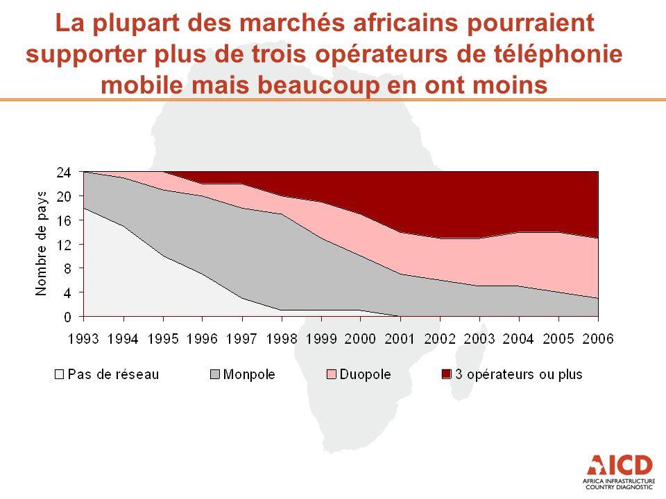 La plupart des marchés africains pourraient supporter plus de trois opérateurs de téléphonie mobile mais beaucoup en ont moins
