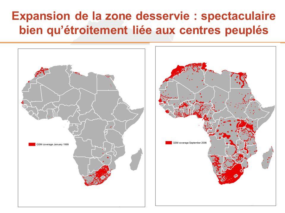 Expansion de la zone desservie : spectaculaire bien quétroitement liée aux centres peuplés