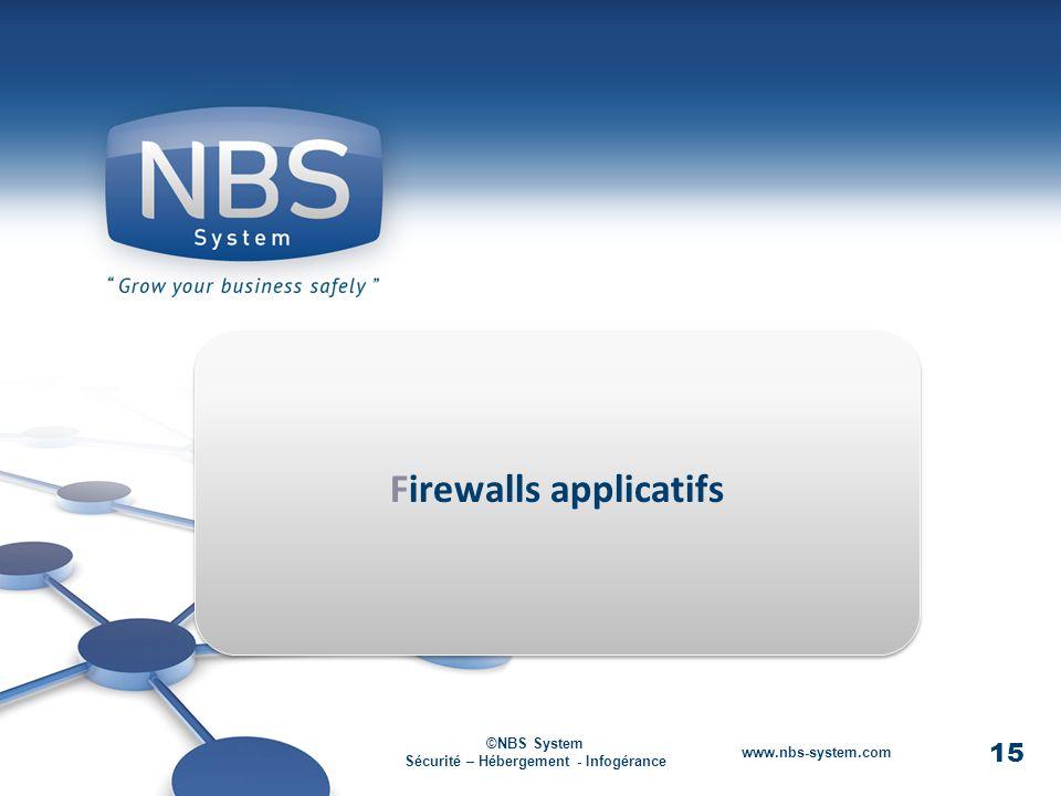 15 ©NBS System Sécurité – Hébergement - Infogérance www.nbs-system.com Firewalls applicatifs 15 ©NBS System Sécurité – Hébergement - Infogérance www.nbs-system.com