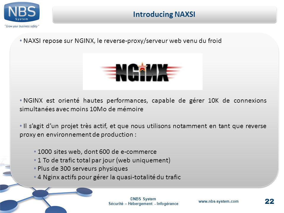 22 ©NBS System Sécurité – Hébergement - Infogérance www.nbs-system.com Introducing NAXSI NAXSI repose sur NGINX, le reverse-proxy/serveur web venu du froid NGINX est orienté hautes performances, capable de gérer 10K de connexions simultanées avec moins 10Mo de mémoire Il sagit dun projet très actif, et que nous utilisons notamment en tant que reverse proxy en environnement de production : 1000 sites web, dont 600 de e-commerce 1 To de trafic total par jour (web uniquement) Plus de 300 serveurs physiques 4 Nginx actifs pour gérer la quasi-totalité du trafic