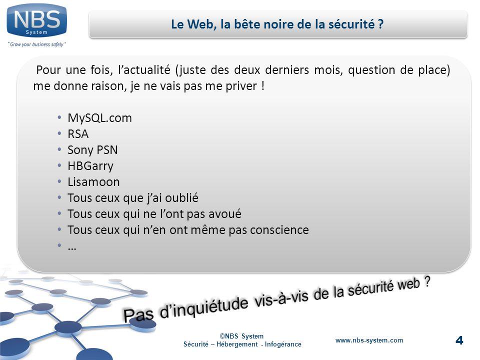 4 ©NBS System Sécurité – Hébergement - Infogérance www.nbs-system.com Le Web, la bête noire de la sécurité .