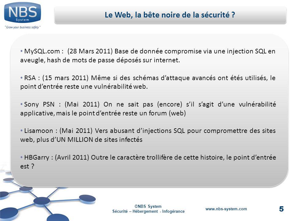 5 ©NBS System Sécurité – Hébergement - Infogérance www.nbs-system.com MySQL.com : (28 Mars 2011) Base de donnée compromise via une injection SQL en aveugle, hash de mots de passe déposés sur internet.
