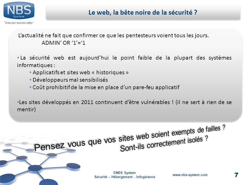 7 ©NBS System Sécurité – Hébergement - Infogérance www.nbs-system.com Le web, la bête noire de la sécurité .