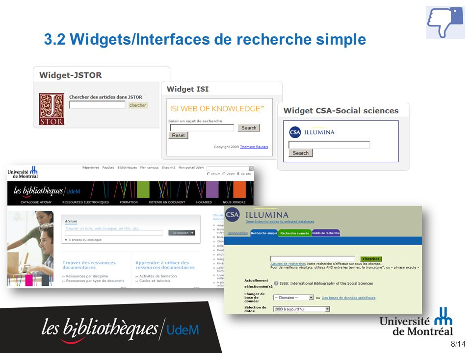 3.2 Widgets/Interfaces de recherche simple 8/14
