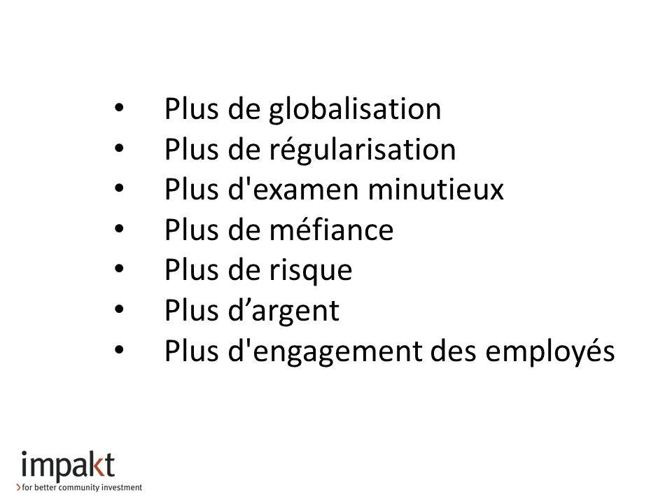 Plus de globalisation Plus de régularisation Plus d examen minutieux Plus de méfiance Plus de risque Plus dargent Plus d engagement des employés