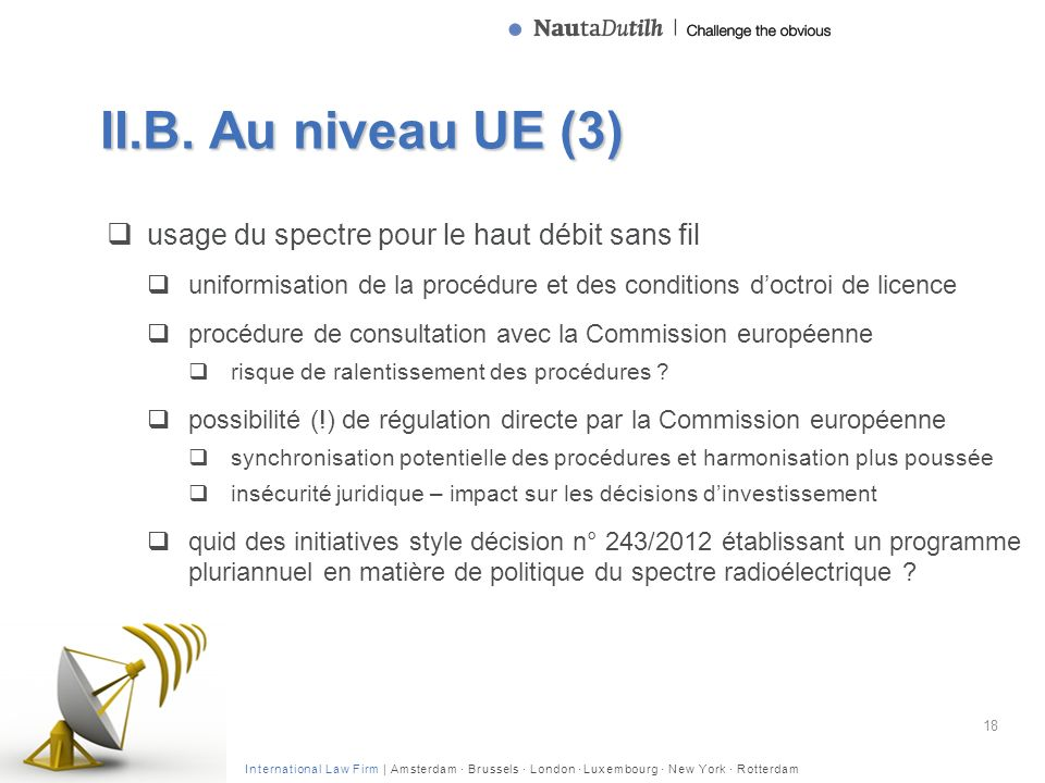 International Law Firm | Amsterdam · Brussels · London · Luxembourg · New York · Rotterdam II.B. Au niveau UE (3) usage du spectre pour le haut débit