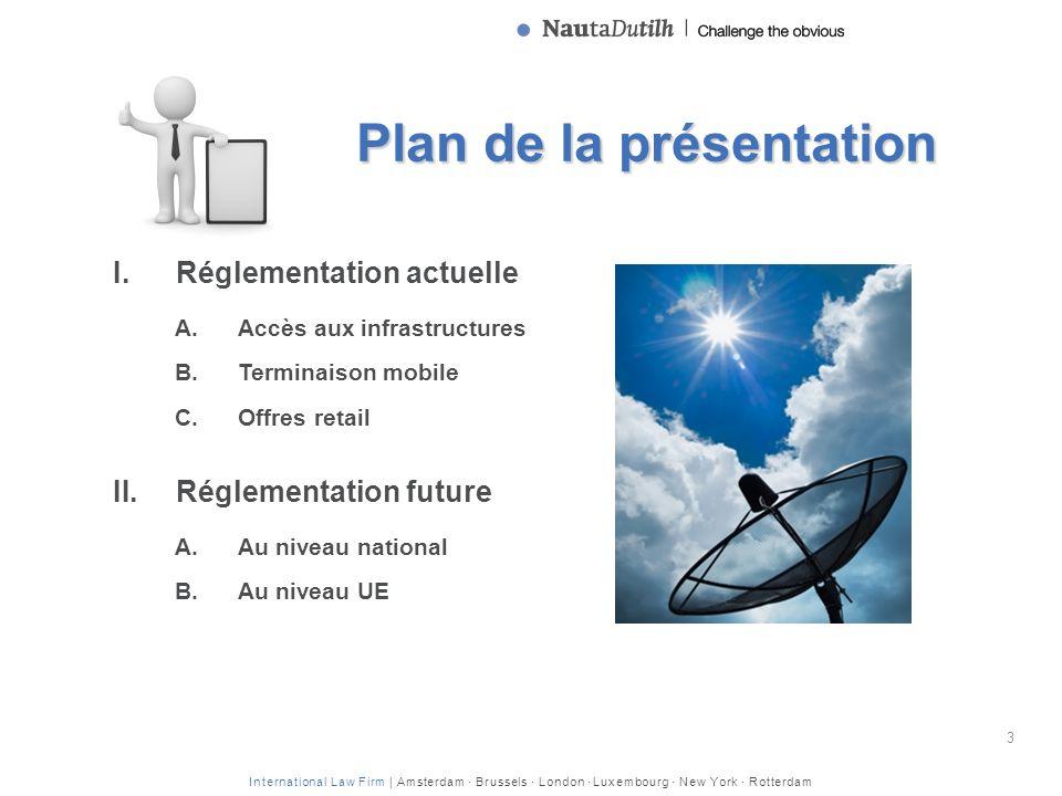 International Law Firm | Amsterdam · Brussels · London · Luxembourg · New York · Rotterdam Plan de la présentation I.Réglementation actuelle A.Accès a