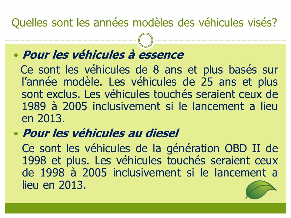 Quelles sont les années modèles des véhicules visés.
