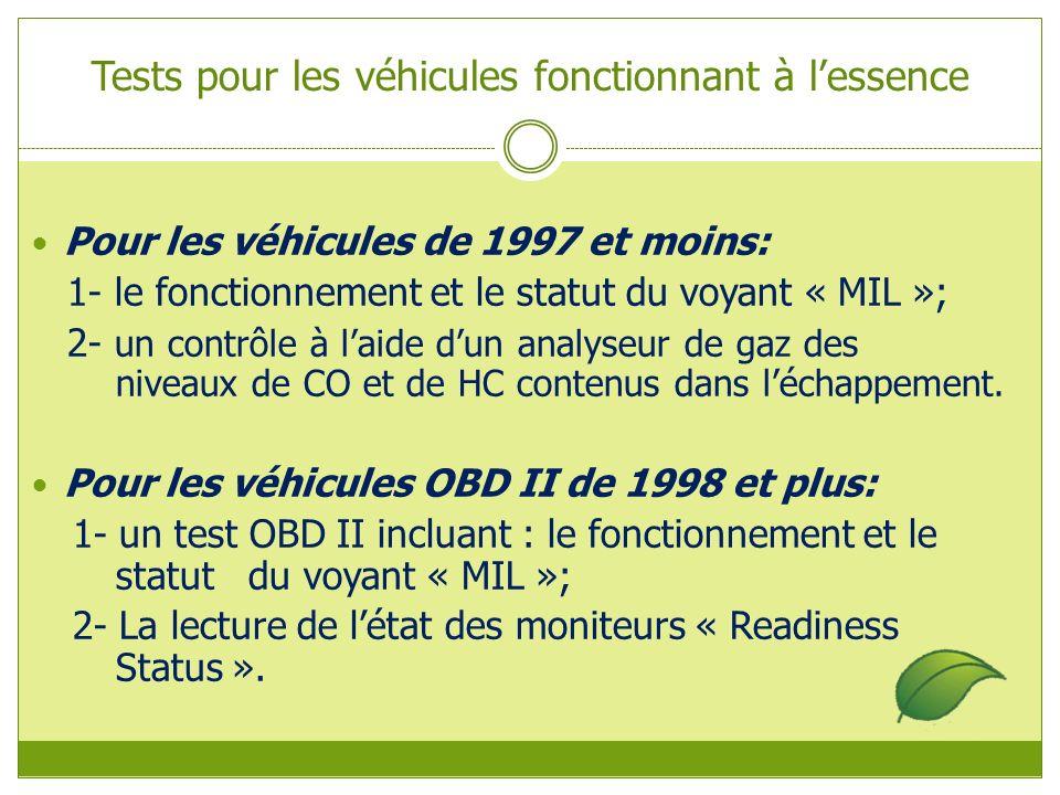 Tests pour les véhicules fonctionnant à lessence Pour les véhicules de 1997 et moins: 1- le fonctionnement et le statut du voyant « MIL »; 2- un contrôle à laide dun analyseur de gaz des niveaux de CO et de HC contenus dans léchappement.