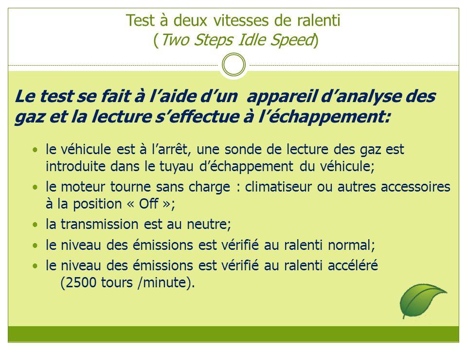 Test à deux vitesses de ralenti (Two Steps Idle Speed) Le test se fait à laide dun appareil danalyse des gaz et la lecture seffectue à léchappement: le véhicule est à larrêt, une sonde de lecture des gaz est introduite dans le tuyau déchappement du véhicule; le moteur tourne sans charge : climatiseur ou autres accessoires à la position « Off »; la transmission est au neutre; le niveau des émissions est vérifié au ralenti normal; le niveau des émissions est vérifié au ralenti accéléré (2500 tours /minute).