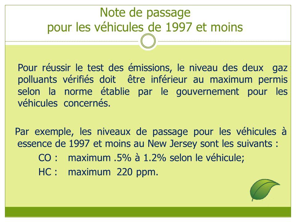 Note de passage pour les véhicules de 1997 et moins Pour réussir le test des émissions, le niveau des deux gaz polluants vérifiés doit être inférieur au maximum permis selon la norme établie par le gouvernement pour les véhicules concernés.
